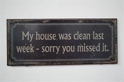 MY HOUSE WAS CLEAN LAST WEEK, SORRY YOU MISSED IT.